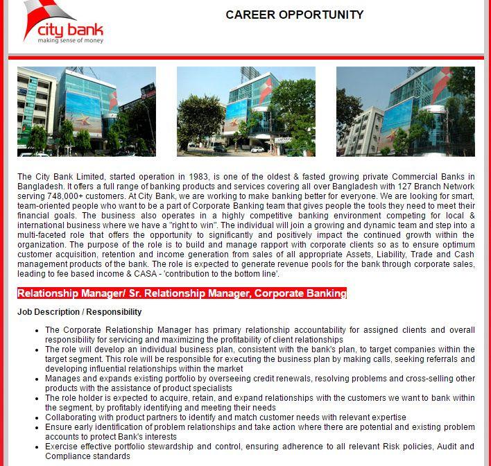 The City Bank Limited u2013 Relationship Manager\/ Sr Relationship - commercial banking relationship manager sample resume