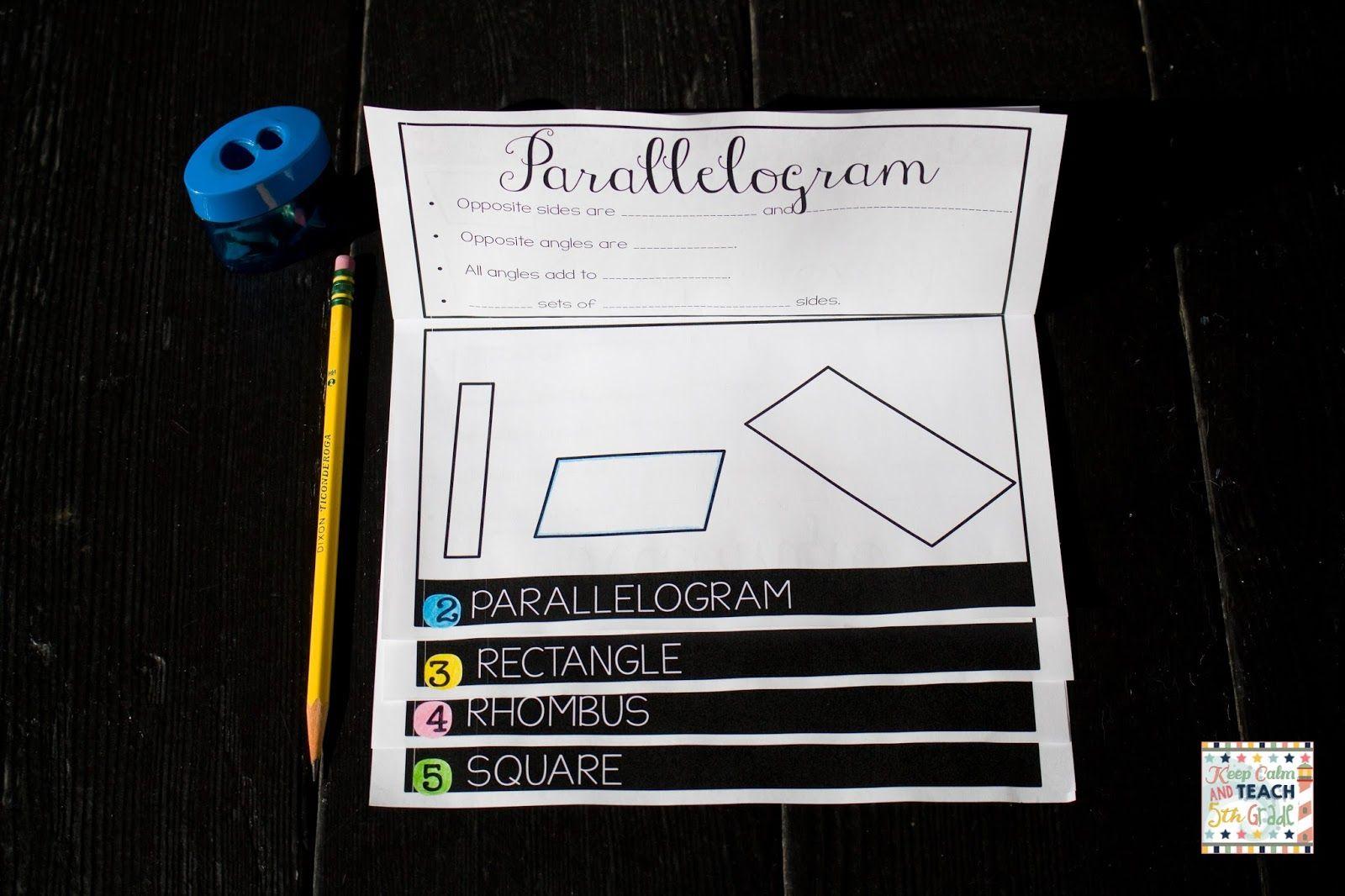 Quadrilateral Flip Books For 5th Grade