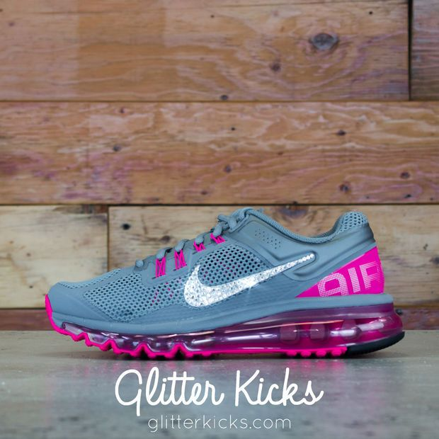 Women s Nike Air Max 360 Running Shoes By Glitter Kicks - Customized With Swarovski  Crystal Rhinestones - Gray Magenta 2535edb15