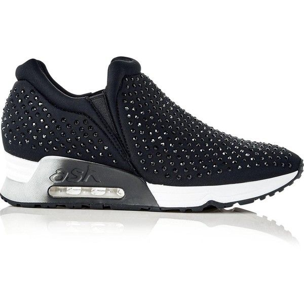 Ash Lifting Crystal Embellished Trainers (€175) ❤ liked on Polyvore featuring shoes, sneakers, black, slip-on shoes, black sneakers, ash shoes, ash sneakers and ash trainers