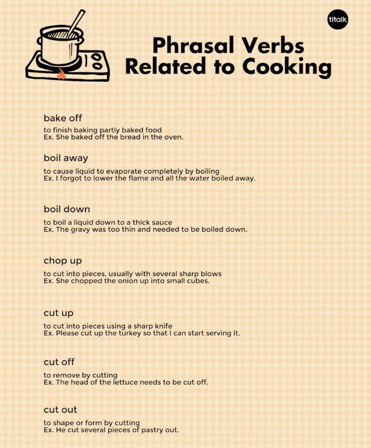 Phrasal Verbs Related To Cooking