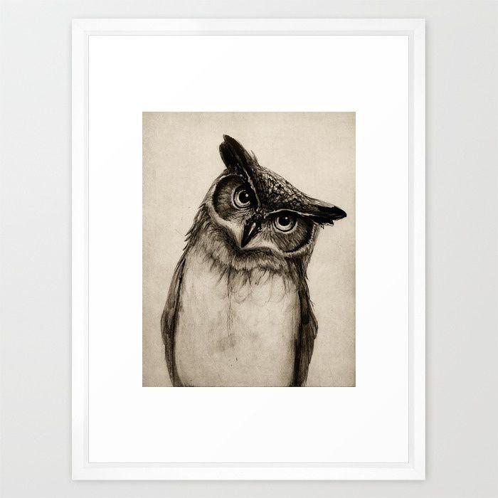 Owl Sketch Framed Art Print vector white frame 20x26\