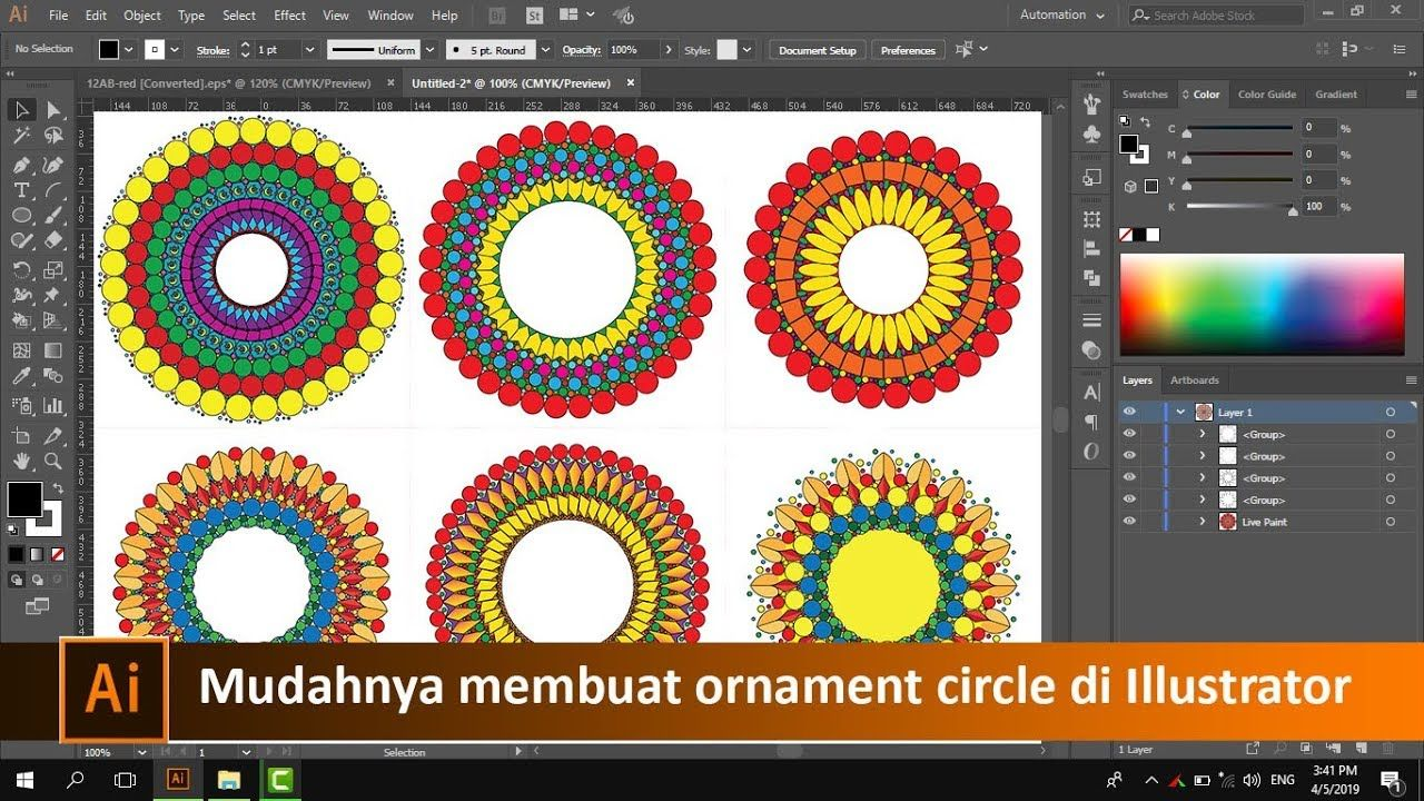 Cara Membuat Ornament Circle Di Adobe Illustrator Tutorial89 Tutorial Adobe Illustrator Di Video Ini Kita Akan Belajar Adobe Illustrator Sederhana Belajar