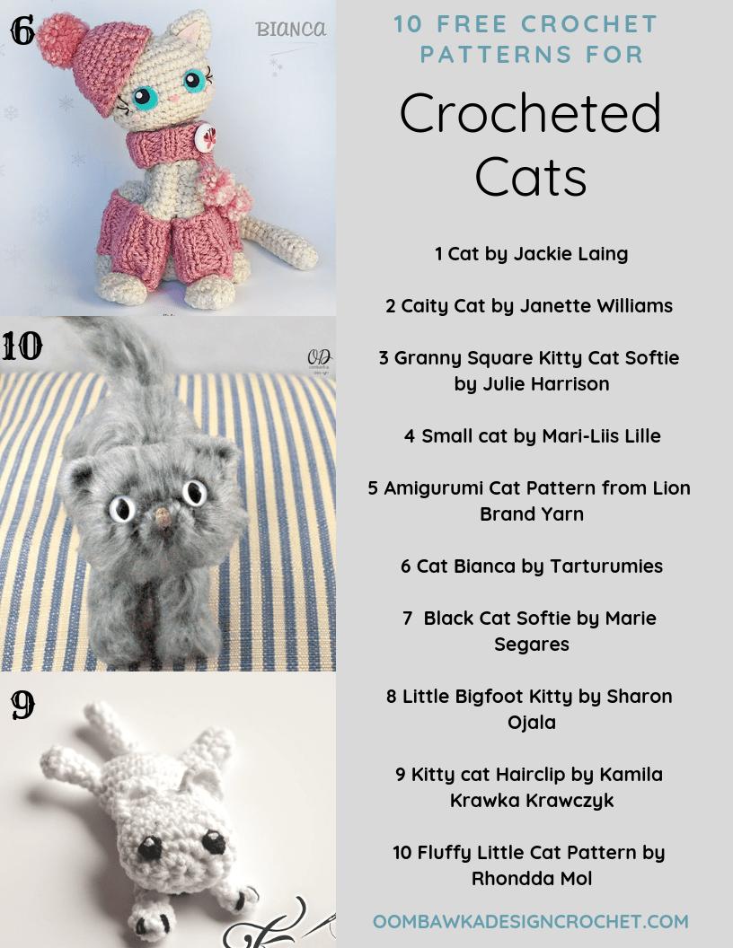 9 Awesome Crochet Cat Patterns | Free Knitting Patterns | Handy ... | 1056x816