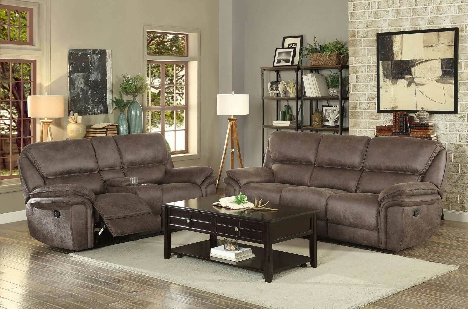 New Living Room Brown Fabric Reclining Sofa Couch Set With