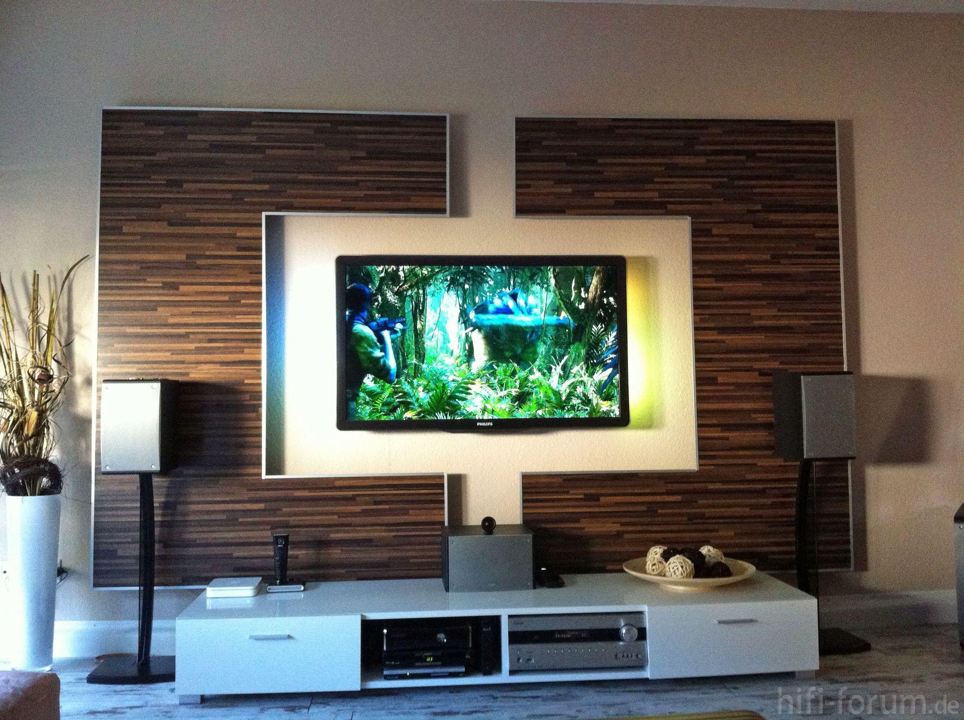 Wohnzimmer tv wand selber bauen : Wohnwand Front doityourself ...
