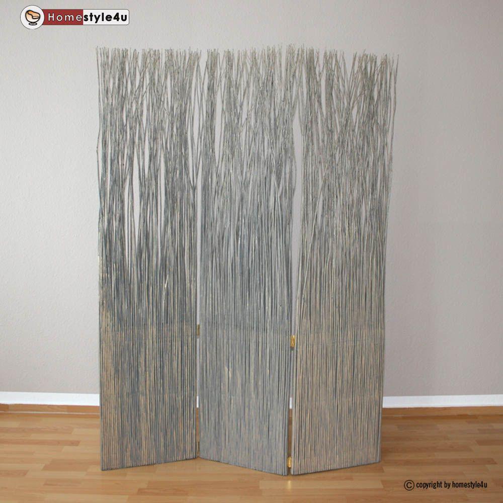 3 Fach Paravent Raumteiler Weide Trennwand Weidenparavent In Grau