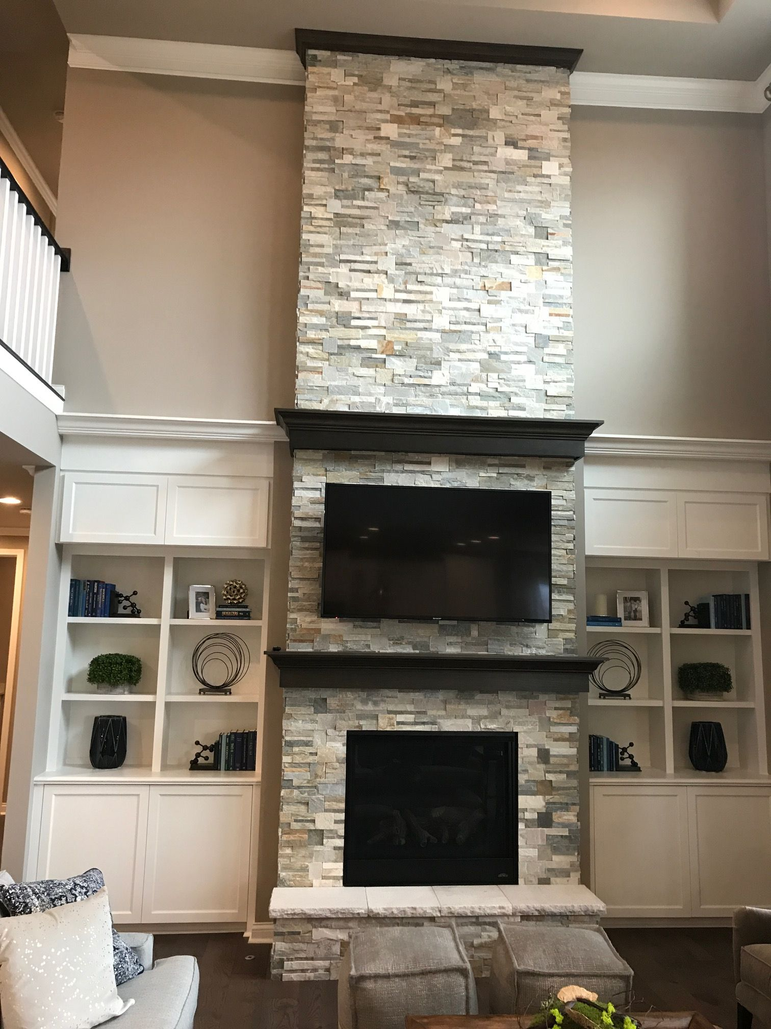 Custom Stacked Stone Tile Fireplace And Custom Mantles Golden Sun