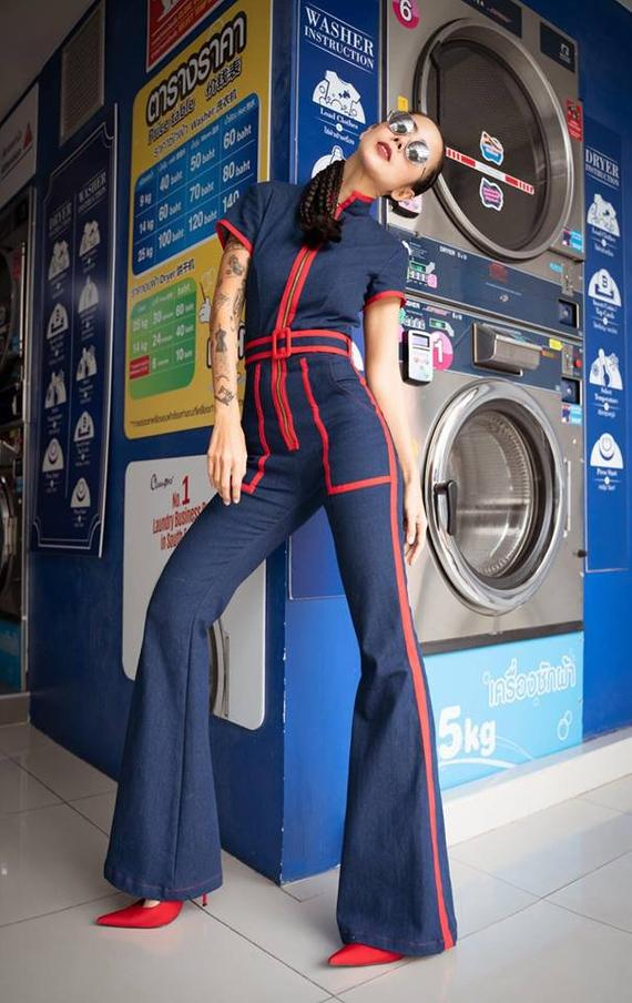 Short Sleeve Denim Jumpsuit Chinese Collar, Red Tr