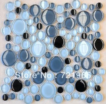 Round shaped glass mosaic tile kitchen backsplash CGMT031 pebble glass mosaic wall tiles blue glass mosaic swimming pool tiles