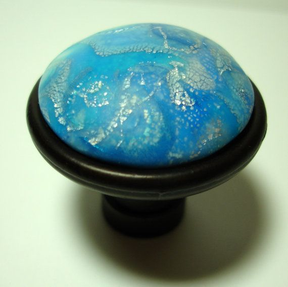 Elegant Cabinet Knobs Celestial Blue Silver by Outrageous Knobs ...