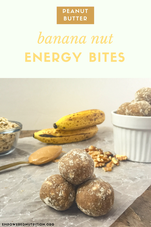 Peanut butter banana nut energy bites pack a nutrition punch & are made with easy ingredients you have in the pantry   EmPowered Nutrition