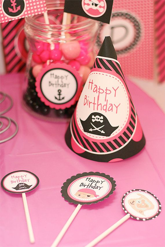 Pink Pirate Party Invitations & Decorations - Girl Pirate - Girl ...