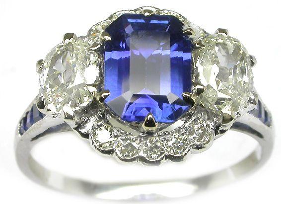 1.35ct 18k White Gold Ceylon Sapphire Diamond Ring   New York Estate Jewelry   Israel Rose