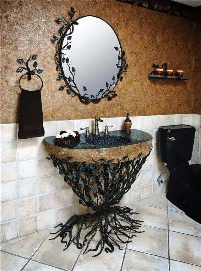 Love this homes and decor pinterest gothic sinks for Gothic bathroom ideas