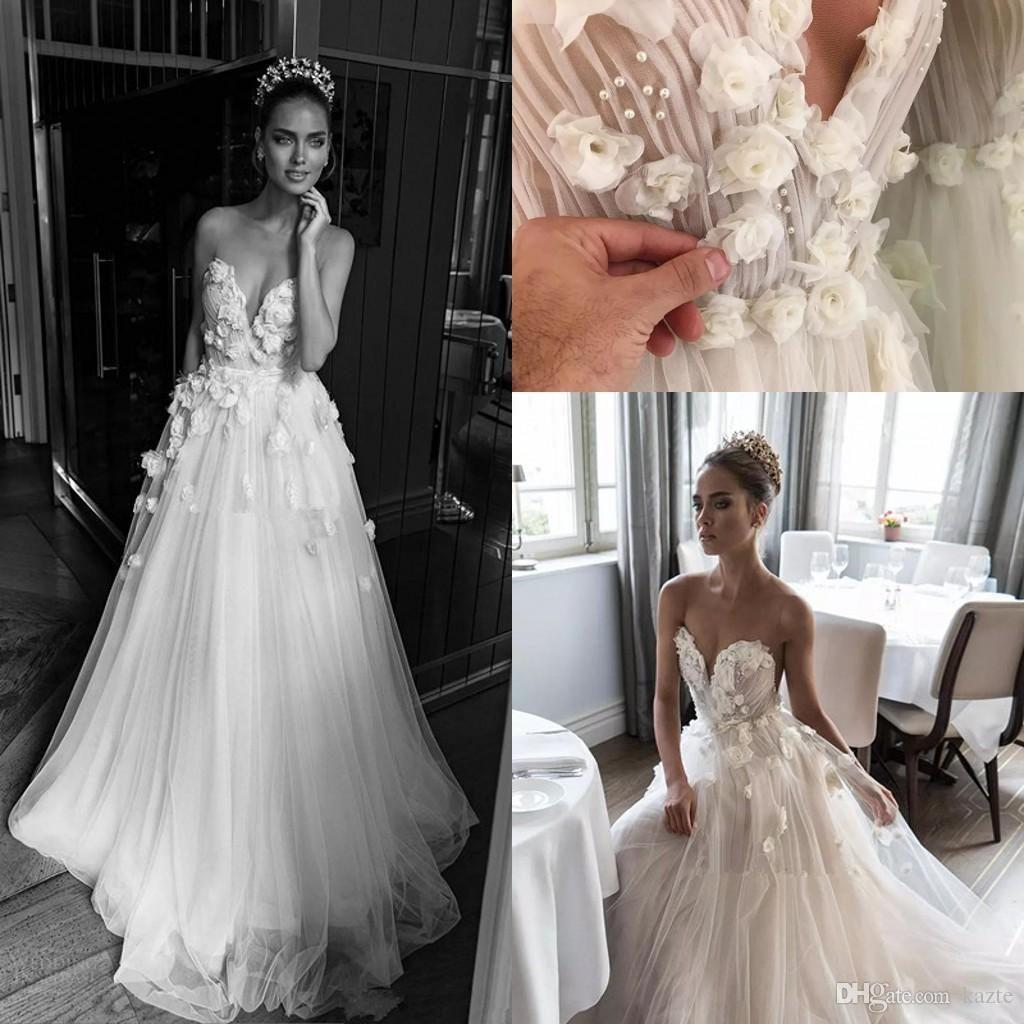 Illusion Jewel Sweetheart Fl Ruched Bodice Wedding Dresses 2018 Elihav Son Rose Flower Floor Length