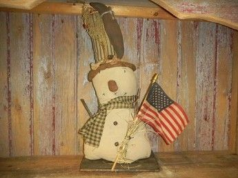 "Primitive Distressed Snowman Holding Flag  18""  H      #  5810"