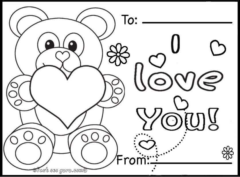 Printable valentines day cards teddy bears coloring pages.jpg (837 ...