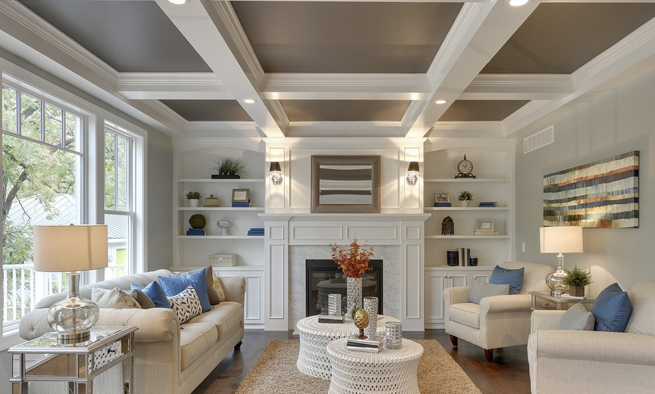 Great photo of coffered ceiling and fireplace detail for Coffered ceiling paint ideas