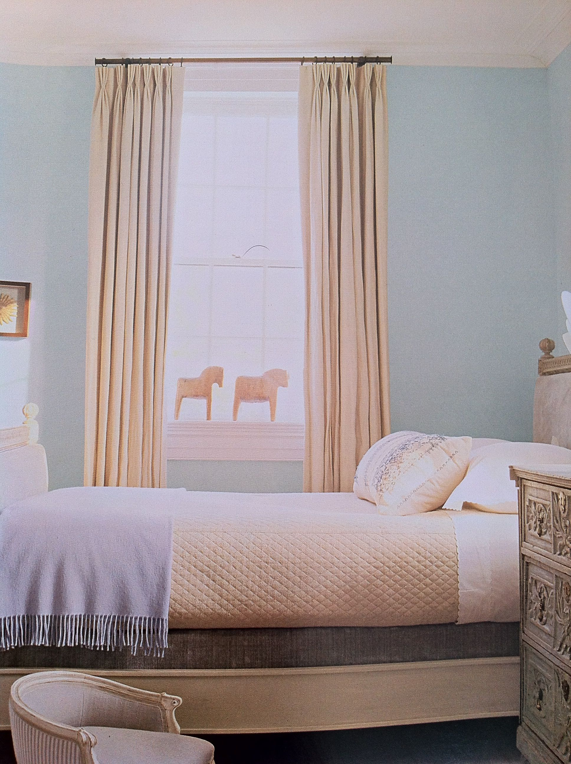 Blue Walls And Beige Curtains