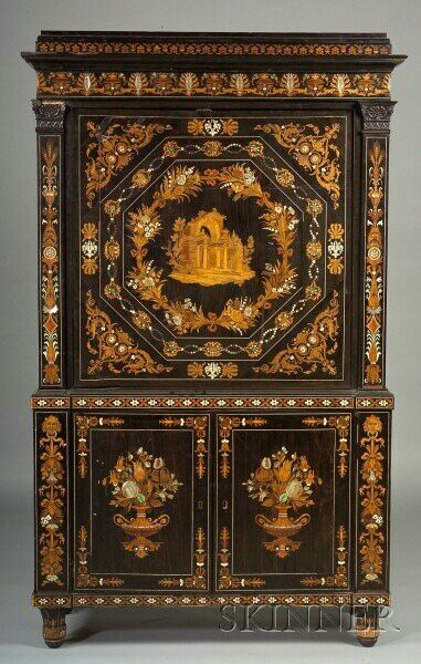 Italian Fruitwood Marquetry And Mother Of Pearl Inlaid Ebony Fall Front  Desk.