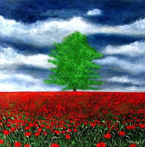 Alone Amongst Zillions Of Poppies - by Marie-Line Vasseur