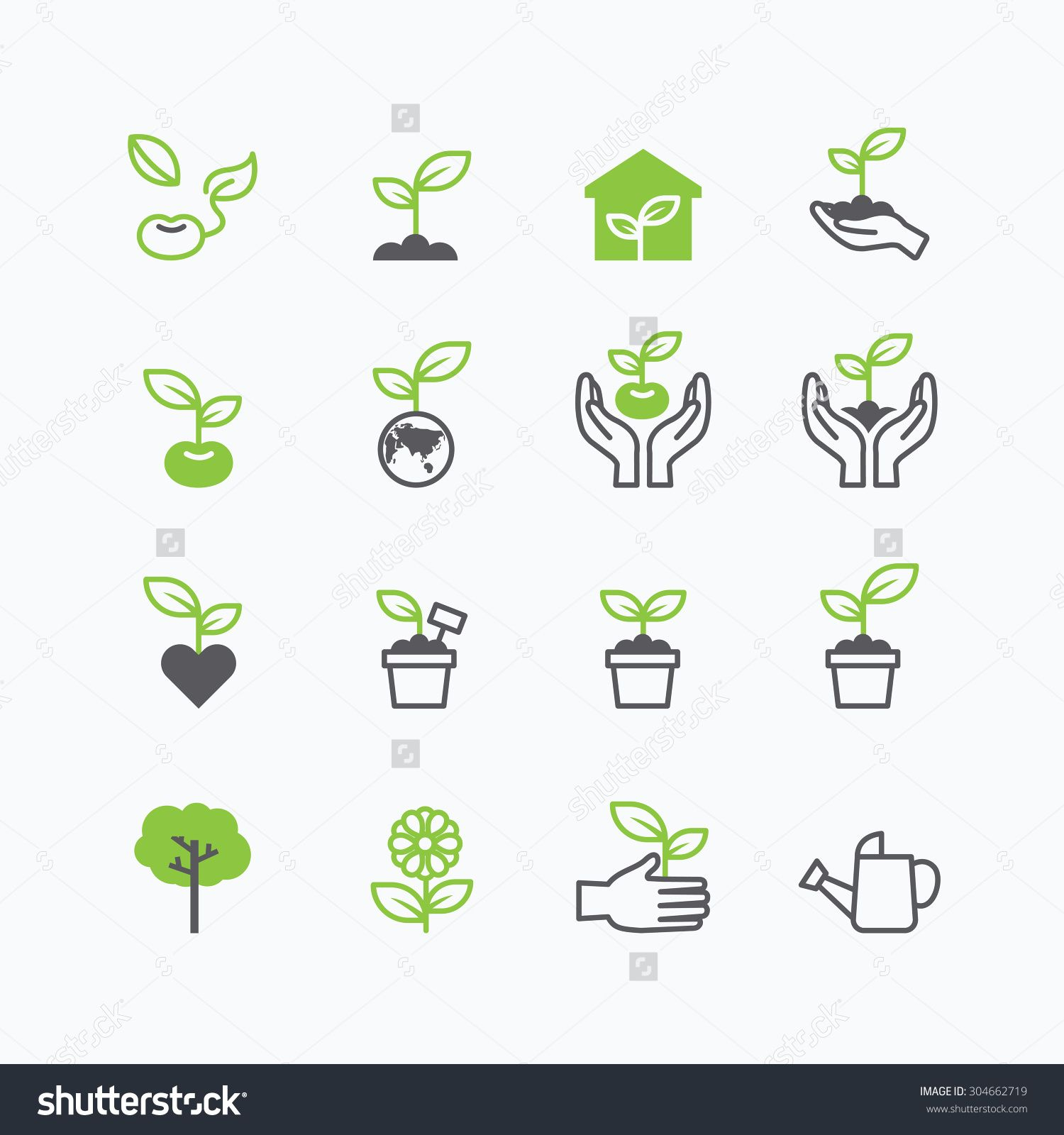 plant and sprout growing icons flat line design vector