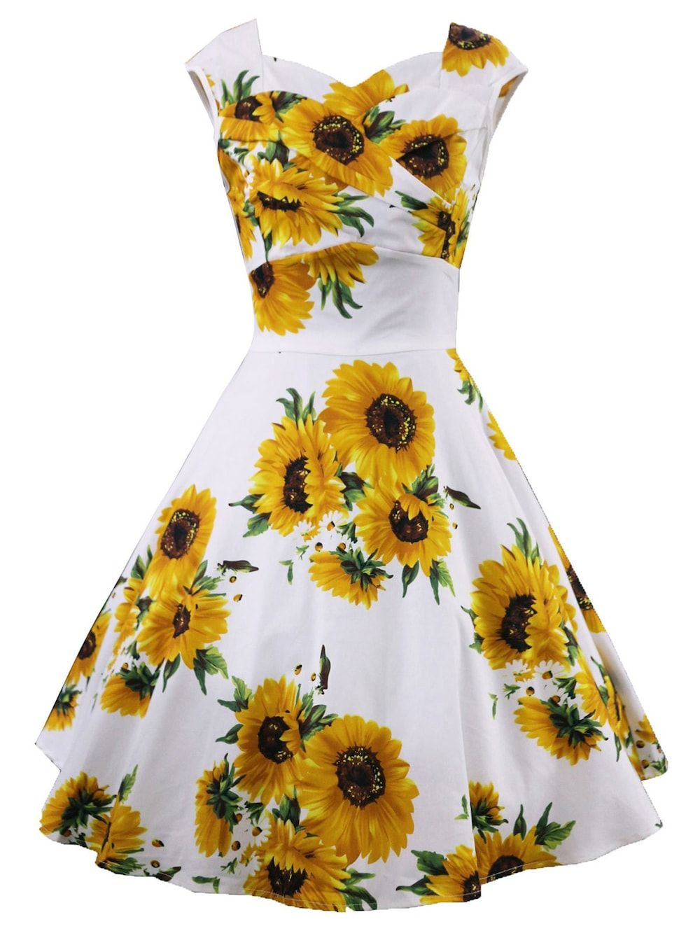 faec2275097 Vintage Sunflower Print Ruched Pin Up Dress White L Clothes