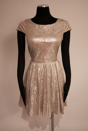 Satin metallic short sleeve dress with a cross back - 201C46490