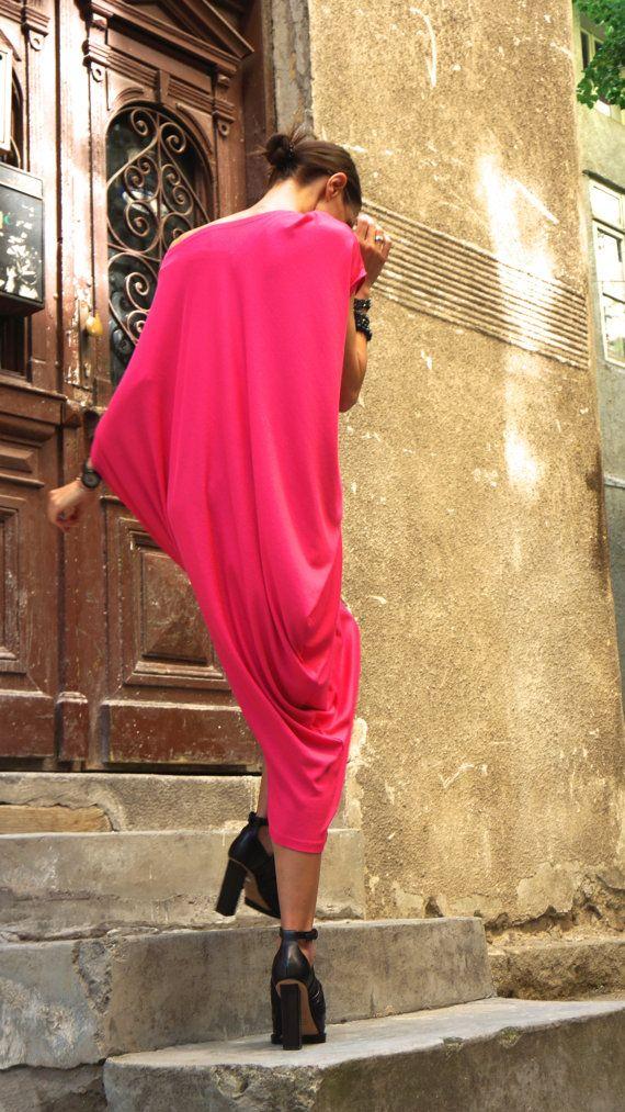 10d72b21c26 Sexy Summer Fuchsia Loose Kaftan / Maxi Dress / Asymmetric ...