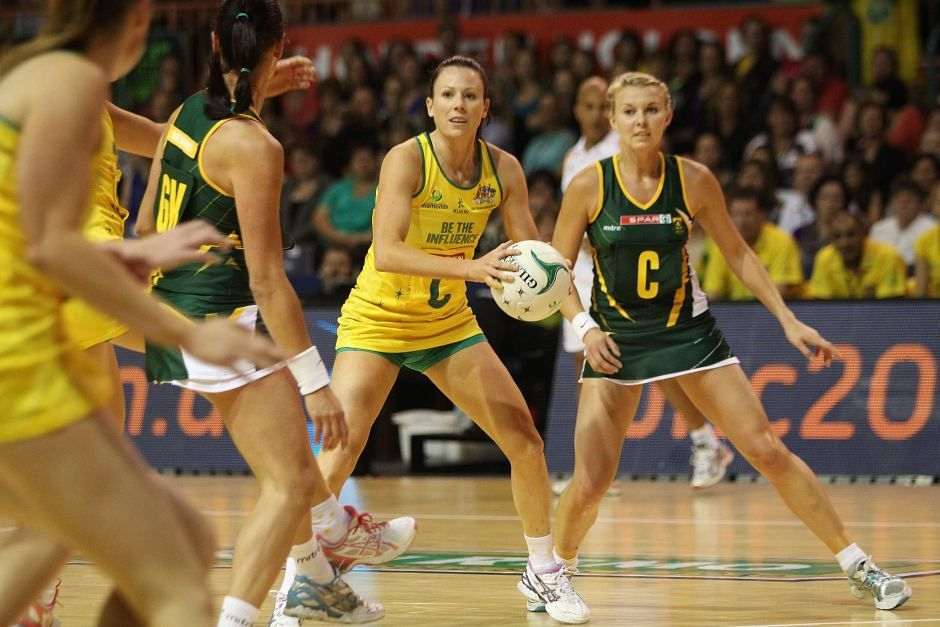 Australian skipper Natalie Von Bertouch passes the ball