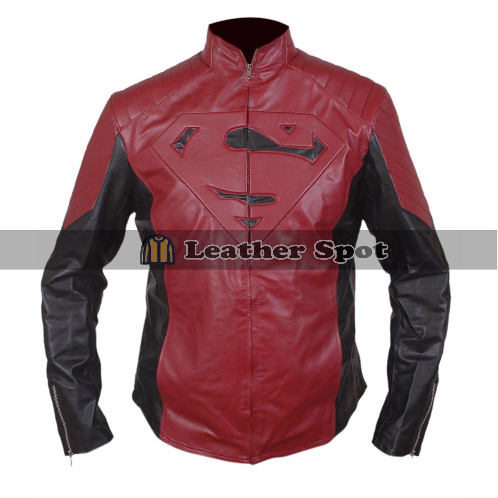 Smallville Superman Logo Biker Style Red Leather Jacket