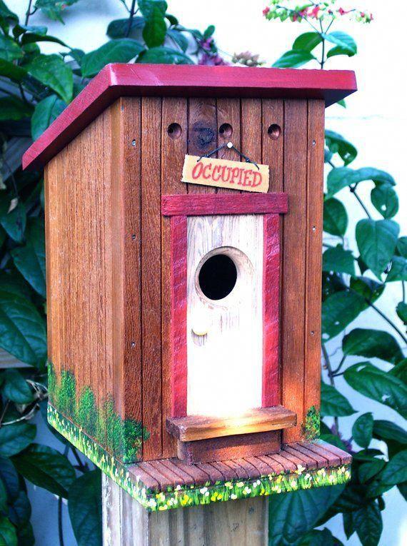 The OUTHOUSE Birdhouse  Etsy #