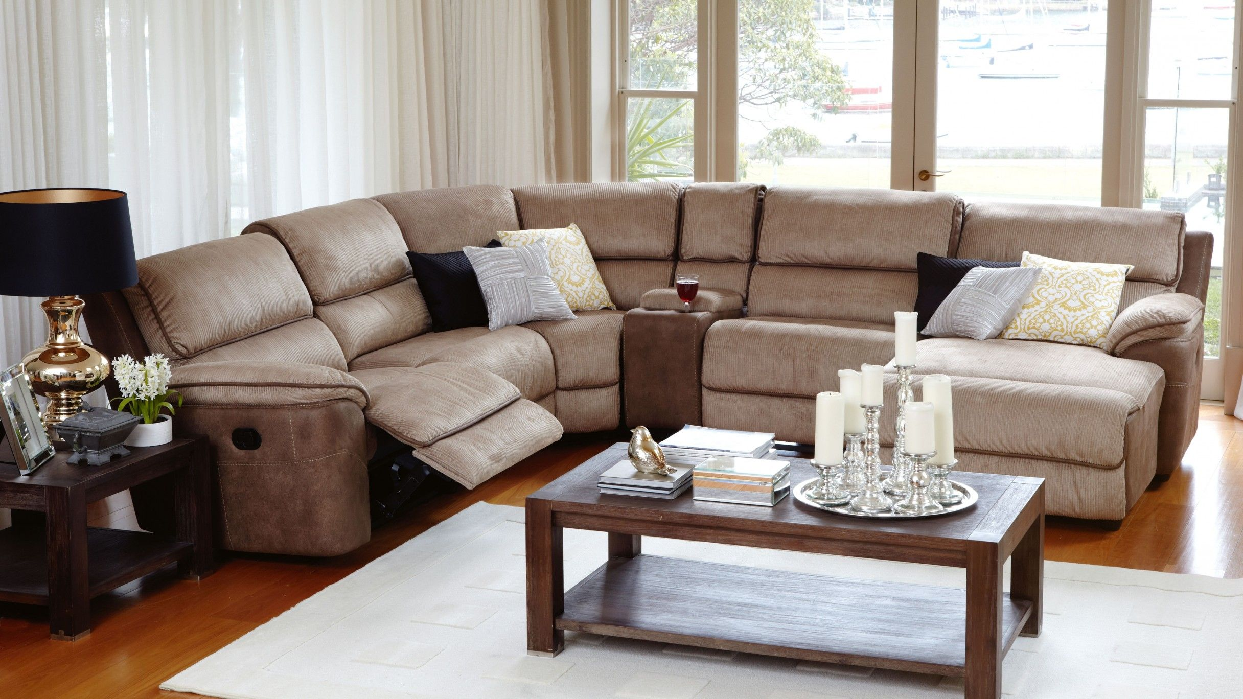Bourbon modular lounge suite with recliner and chaise for Living room suites furniture