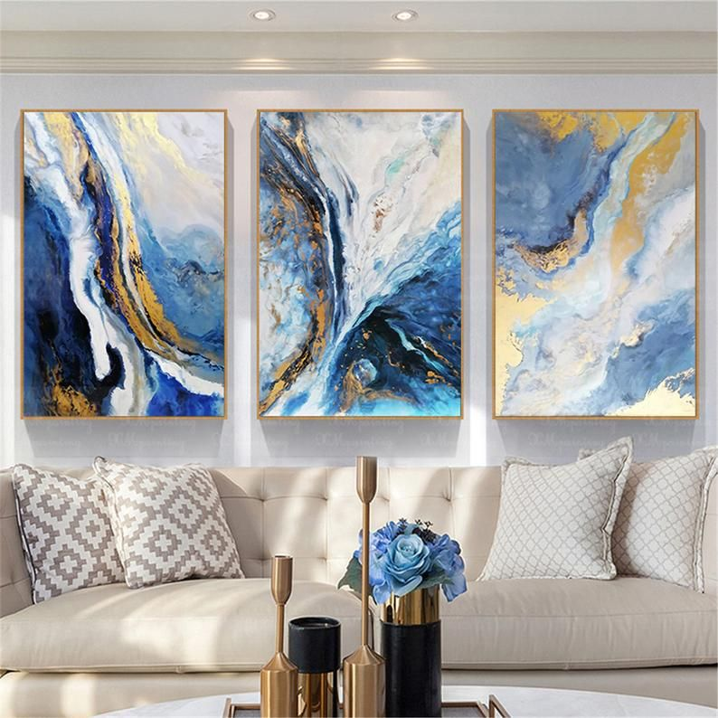 Framed 3 Panels Acrylic Canvas Abstract Painting Wall Art Etsy Canvas Wall Art Living Room Blue Wall Decor Living Room Abstract Canvas Painting