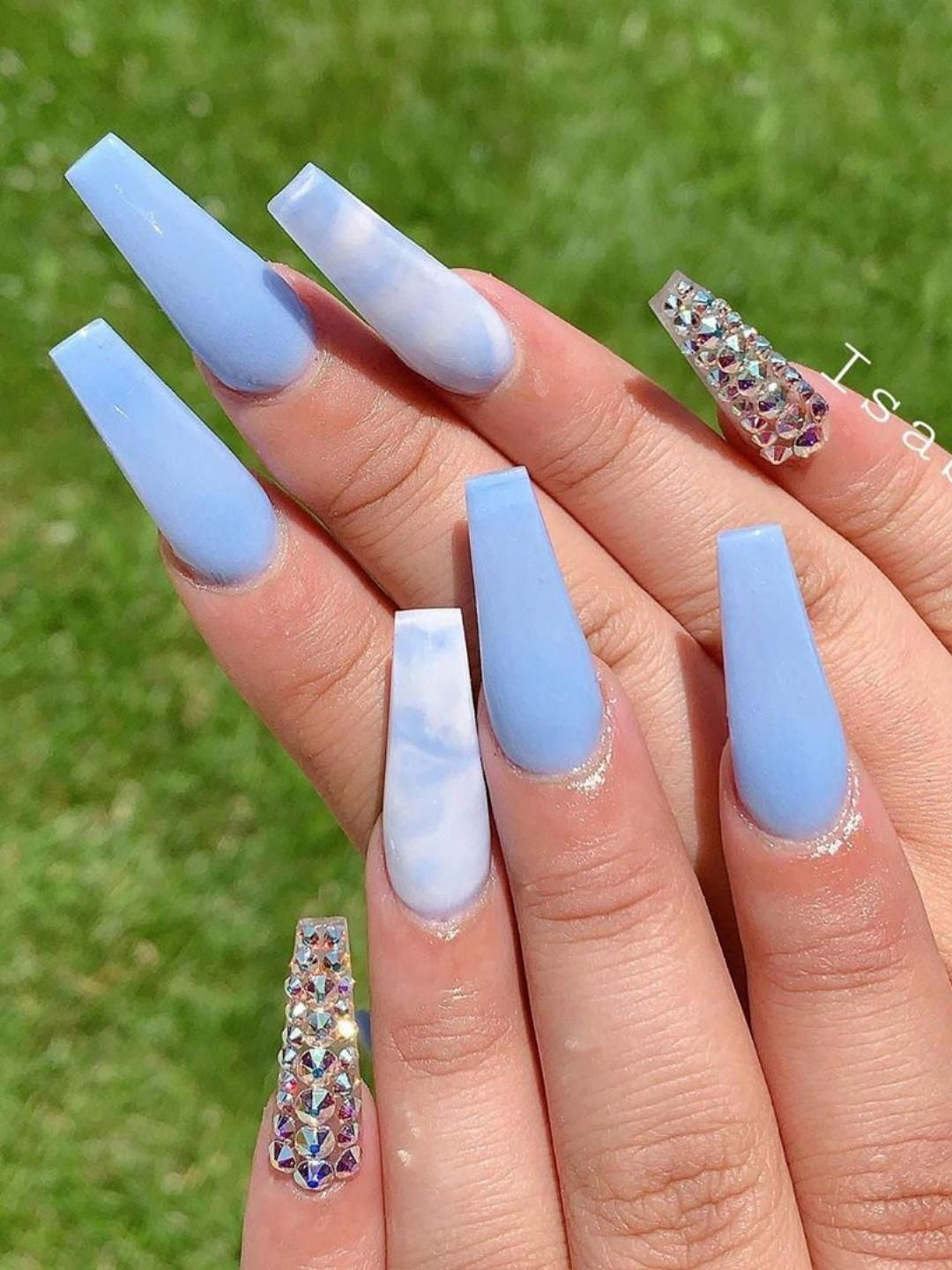 Beautiful Nails Set Consists Of Light Blue Coffin Nails Blue White Marble Coffin Nail And Cryst In 2020 Baby Blue Acrylic Nails Blue Acrylic Nails Blue Ombre Nails