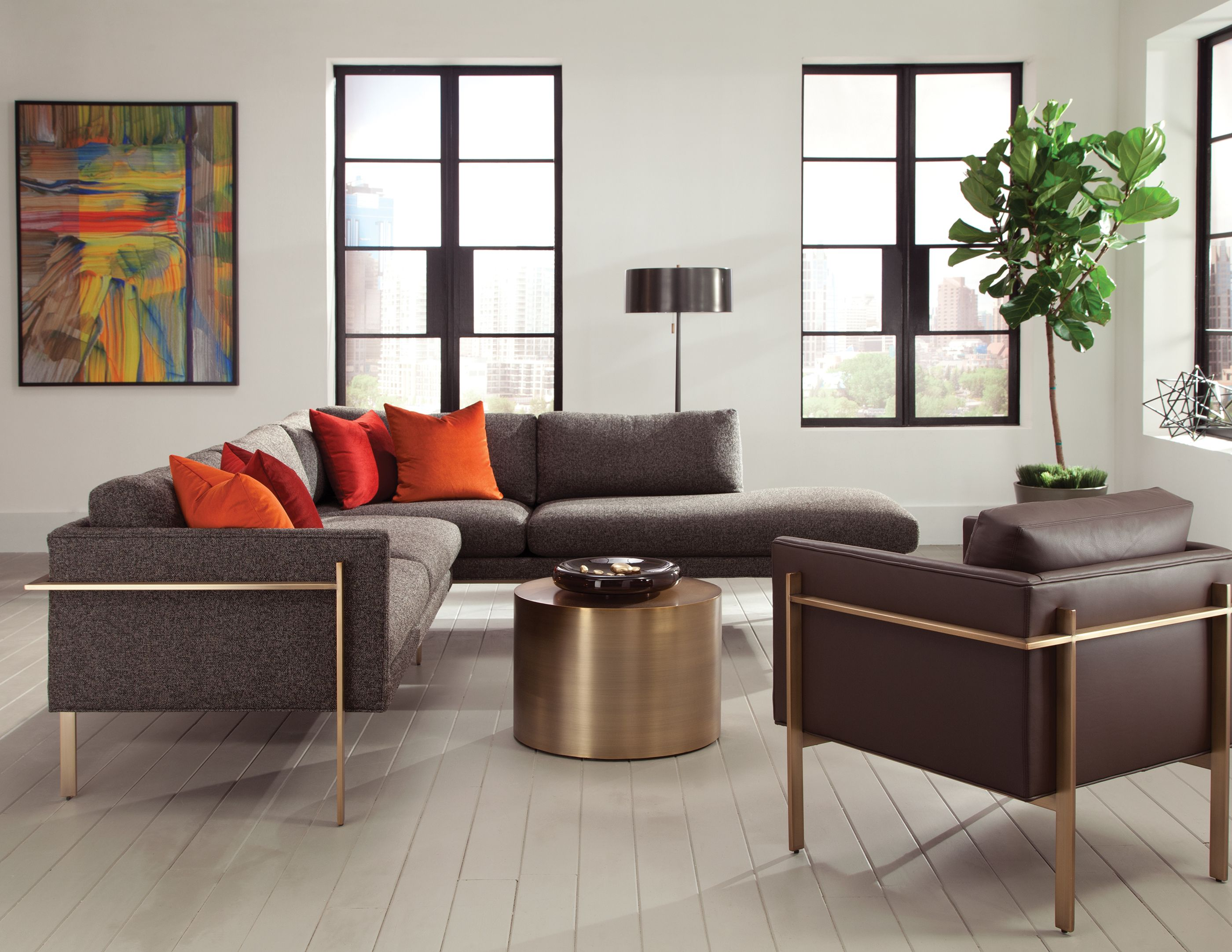 Milo Baughman Open Concept Living Room With Drop In Sectional And Chair  With Brushed Bronze Drum