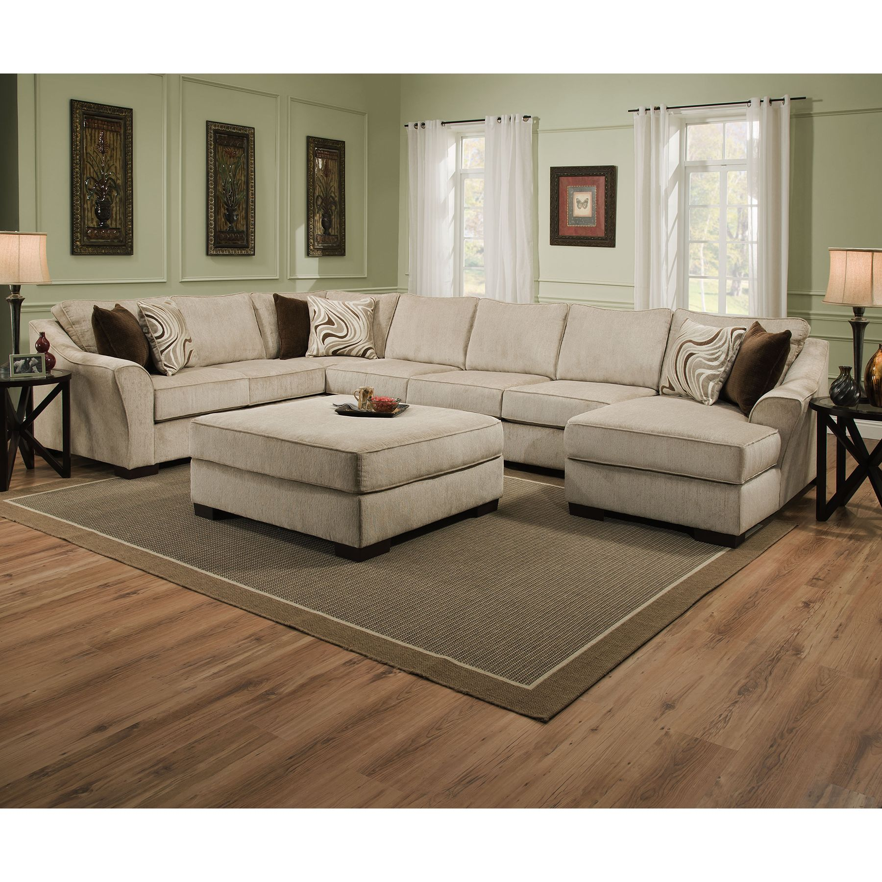Simmons Upholstery Kingsley Beige Sectional and Ottoman by