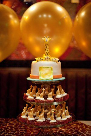 Giraffe Themed Cake At A Modern Baby Shower {Photo By Joshua Tyi  Photography}