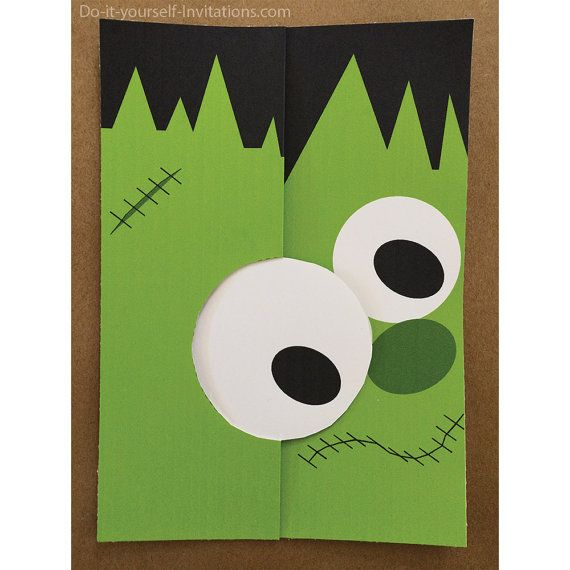 Adorable Frankenstein Halloween Printable DIY Trifold Invitation - download invitation card