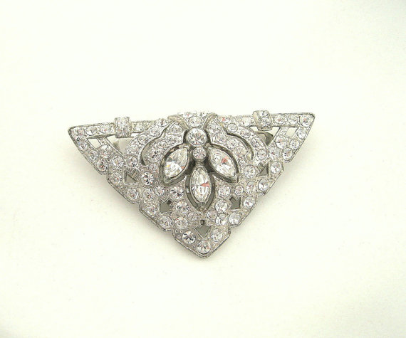 Vintage Coro Dress Clip Art Deco Rhinestone by VintageStreet, $70.00