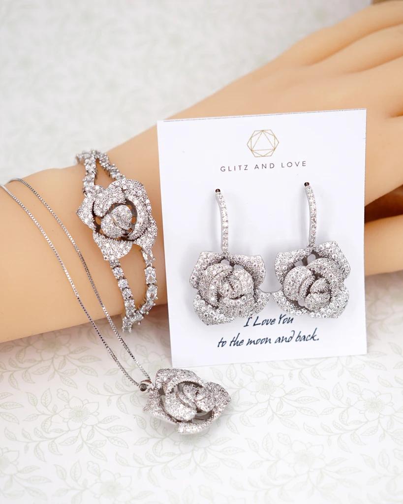 Bridal Rose Earrings And Bracelet Brides Bridesmaid Wedding Jewelry In 2020 Wedding Jewelry Bridesmaid Gifts Jewelry Wedding Bridesmaid Jewelry