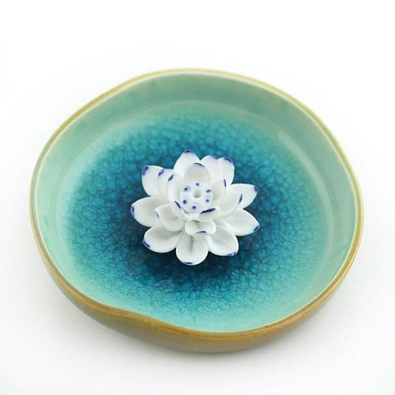 Incense Burner Home Decor Hand Made Ceramic Lotus Flower Bowl From