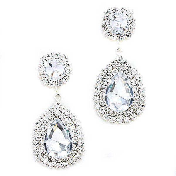 Silver Crystal Diamante Teardrop Rhinestone Drop Dangle Earrings