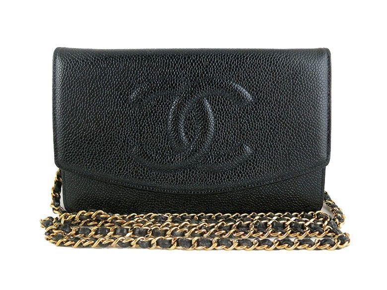 12358662ff18 Chanel WOC Black Caviar Wallet on Chain 2.55 Classic Clutch Purse Sling Bag