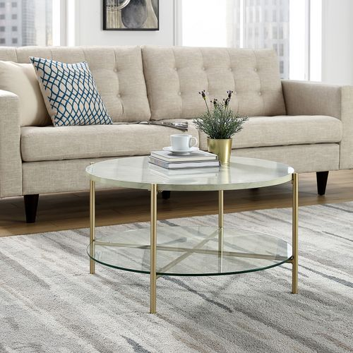 Faux Marble Round Coffee Table: White Faux Marble & Gold Round Coffee Table