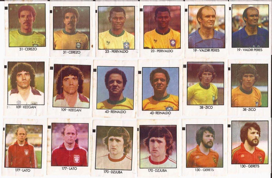 Copa do Mundo Espanha 1982 -  9 jogadores sairam com imagens diferentes (19 - Valdir Perez, 23 - Perivaldo, 31 - Cerezo, 38 - Zico, 43 - Reinaldo, 109 - Keigan, 130 - Gerets, 170 - Djuba e 177 - Lato)