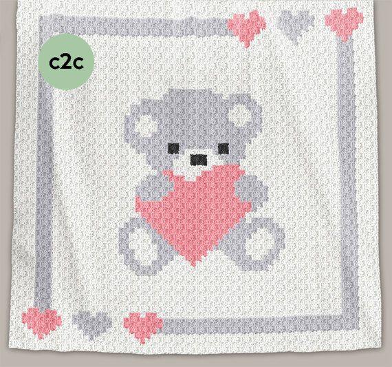 CROCHET Pattern - C2C Baby Blanket - Sweet Heart - Crochet Chart ...
