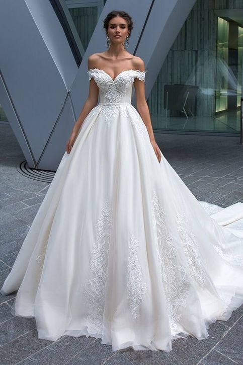 White Bridal Dress Appliques Wedding Dresses Off Shoulder