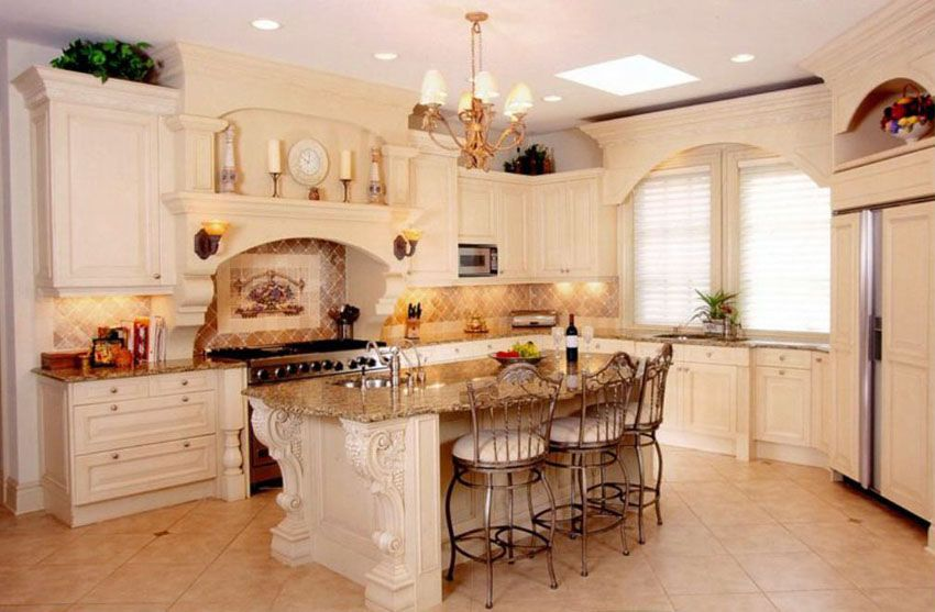 Traditional Kitchen With Cream Color Cabinets Decorative Wood Island And Ceramic Tile Fl Cream Colored Cabinets Kitchen Cabinet Design Wood Tile Floor Kitchen